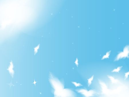 Flying birds in the sky, background in peace theme photo
