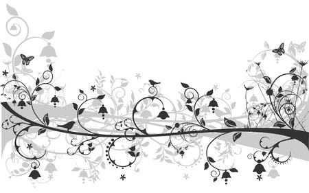 Vector floral design with birds and butterflies Illustration