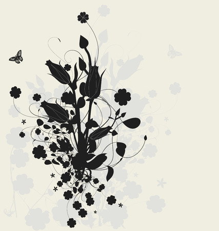 Floral design with shadow, detailed vector illustration