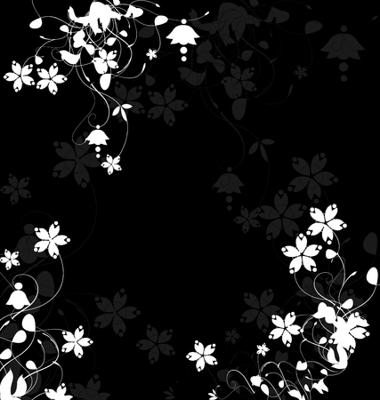 Floral template over black background
