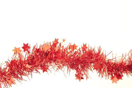 whithe: Guirnaldas de felices vacaciones, rojo sobre fondo de whithe  Foto de archivo