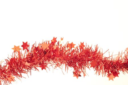 Happy holidays, red garlands over whithe background