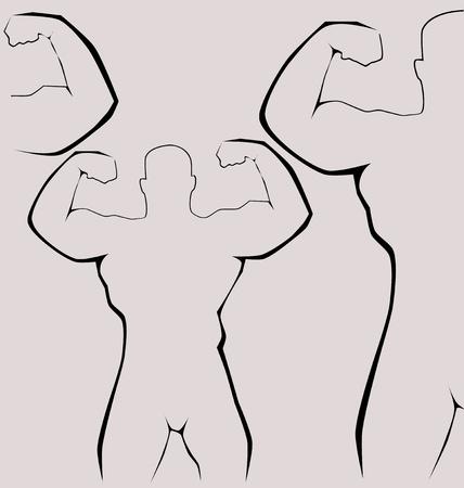 Strong man silhouette - healthy life concept, vector illustration Vector