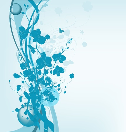 Floral blue background with orchids, vector illustration