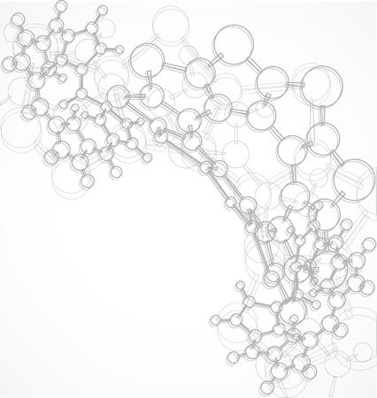 Fondo blanco y negro con moléculas voluminosas