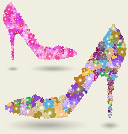 Beautiful woman shoe created with multicolor orchid flowers