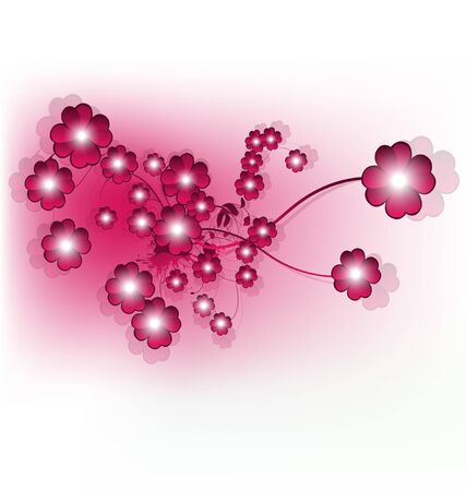 Beautiful shiny pink flower design, vector illustration