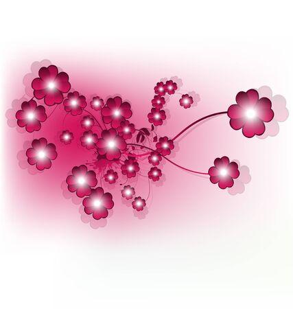 Beautiful shiny pink flower design, vector illustration