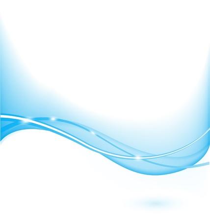 파도와 빛을 가진 추상 빛나는 파란색 배경