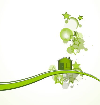 health symbols metaphors: Green house with stars over white background, vector illustration