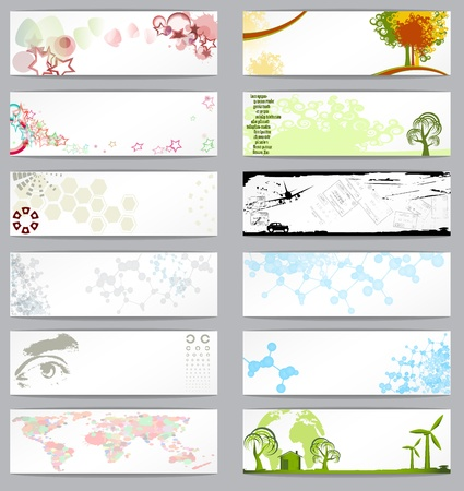 Set of twelve different business cards, vector illustration