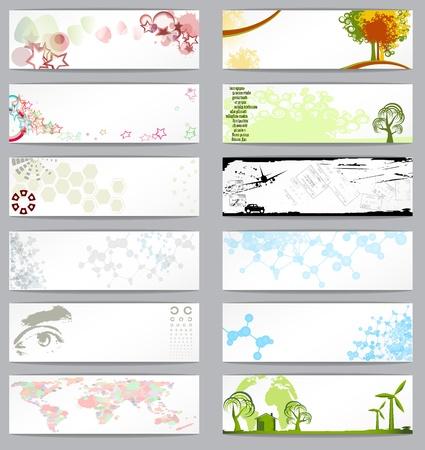 Set of twelve different business cards, vector illustration