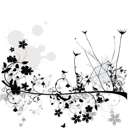 Floral design with birds and butterflies  Vector
