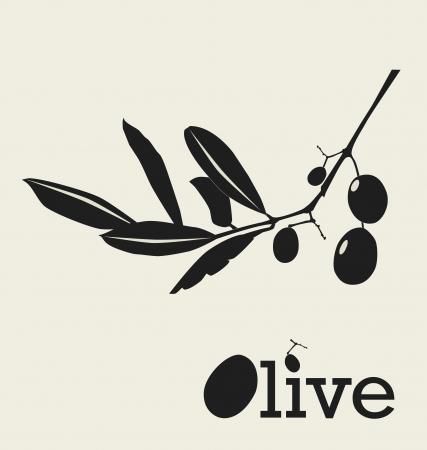 olive illustration: stylized olive branch silhouette, vector illustration Illustration