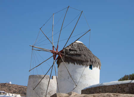 Old windmills on a mysterious island of Mykonos, Greece