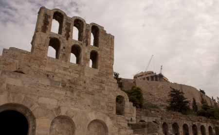 Ruins of famous Acropolis in the heart of Athens photo