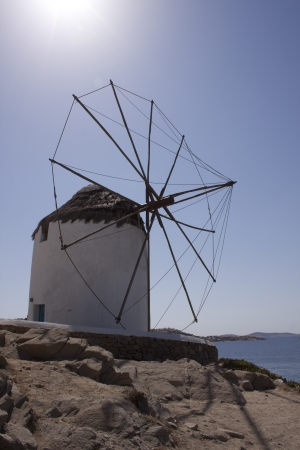 Old windmills on a mysterious island of Mykonos, Greece