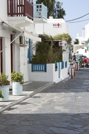 Typical Aegean town street, Cyclades islands Editorial