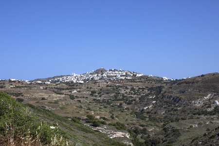 Typical Cycladic town on a hill, Milos, Greece