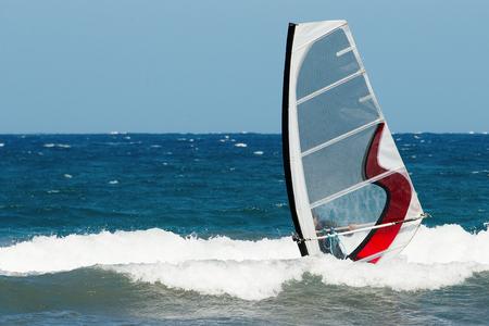 slight: moving windsurfer on the waves of slight stormy sea