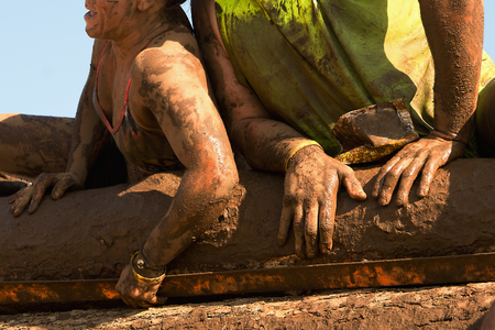 Mud race runners 스톡 콘텐츠
