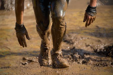 Mud race runners 写真素材