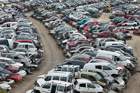 hundreds: Hundreds of old cars at a scrap yard