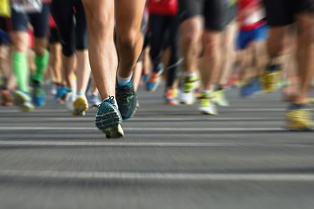 Los corredores de maratón en la carrera, abstracta Foto de archivo