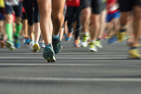 runners: Marathon runners in the race,abstract