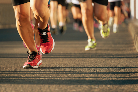 training shoes: Marathon running in the light of evening Stock Photo