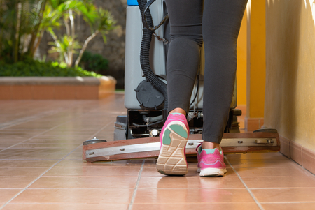 bioclean: cleaning floor with machine Stock Photo