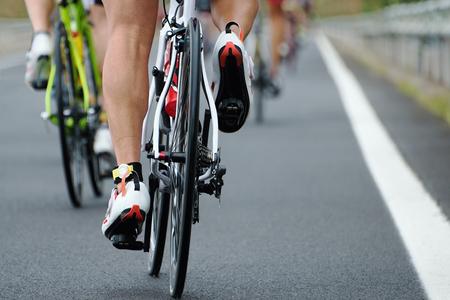 ciclista: Competencia de ciclismo, vista desde atrás