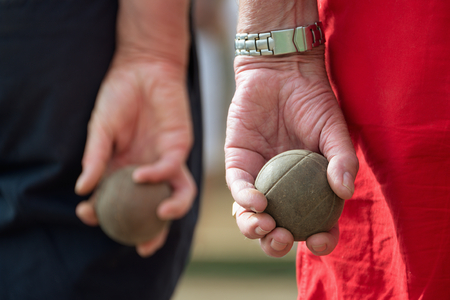 bocce ball: Seniors playing petanque,fun and relaxing game