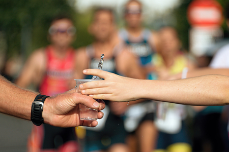 Drinks station at a marathon Stock Photo