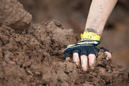 muddy: Mud race runners,muddy hand