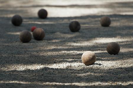 chrome ball: Petanque ball boules bawls on a dust floor
