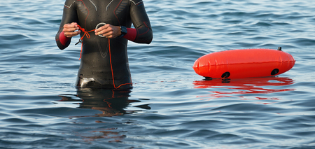 exersice: Endurance swimmer is preparing for long-distance swimming Stock Photo