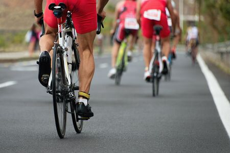 Cycling competition,view from behind