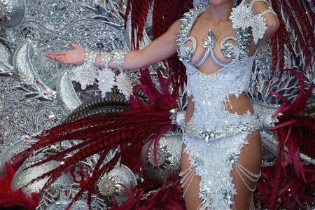 A woman in costume dancing on carnival Stock Photo