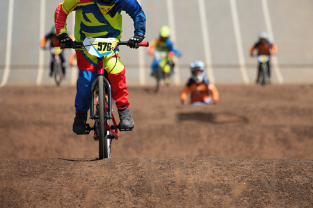 BMX riders competing in the child class