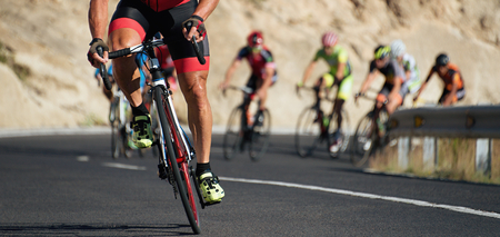 Cycling competition,cyclist athletes riding a race at high speed