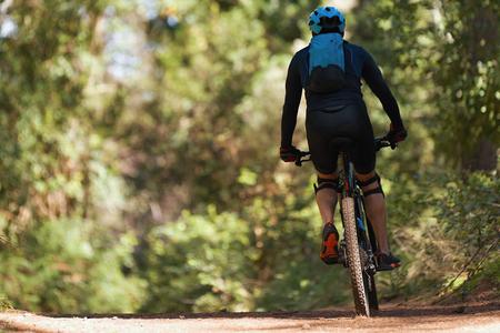 Mountainbike-Mann, der auf dem Fahrrad in der Sommerbergwaldlandschaft fährt Standard-Bild