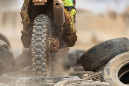 Action of enduro motorcycle, obstacle tires