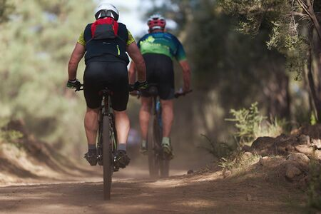 Mountain biking couple riding on bike in summer mountains forest landscape