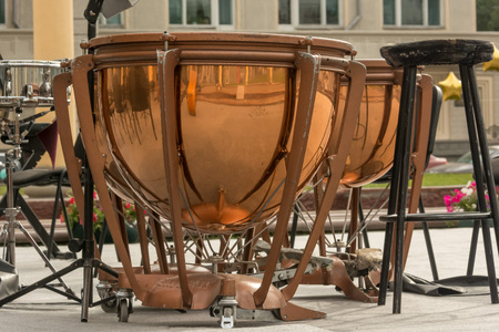 Timpani drum on summer street in the evening 스톡 콘텐츠