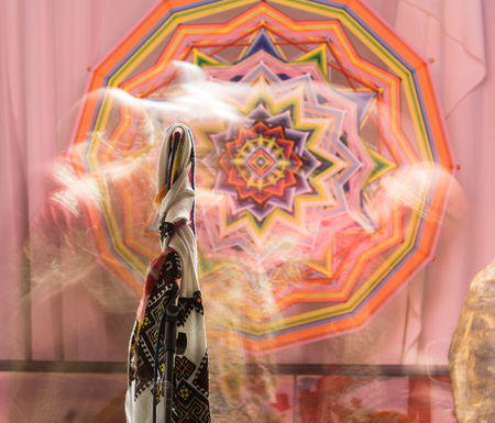 SHAMAN IN Russia magically shimmering opening the portal