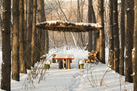wooden gazebo in a snowy forest for relaxing and barbecue