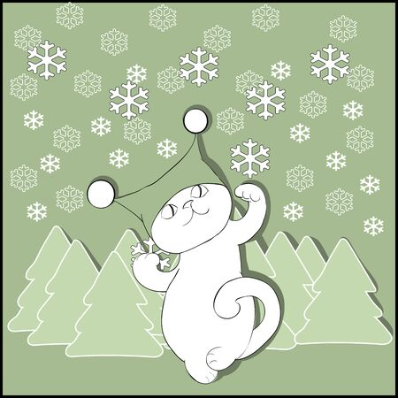 firtrees: Cat in hat with fir-trees and snowflakes cutout
