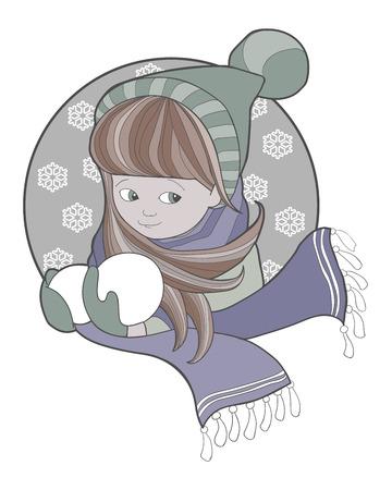 snowballs: Ragazza in maglia cappello e sciarpa con palle di neve
