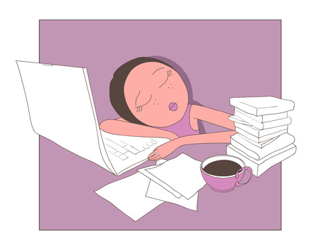 demitasse: Slleeping girl on desk with notebook and books Illustration